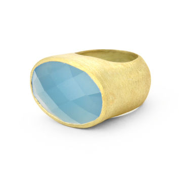 Betty Carre' Created Oval Blue Chalcedony Ring Goldplate