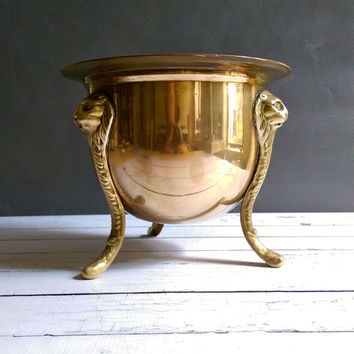 On hold for Ty: Brass Lion Planter/ Antique French Brass Planter/ Art Nouveau Brass Lion Pot/ Lion 3 Legged Planter