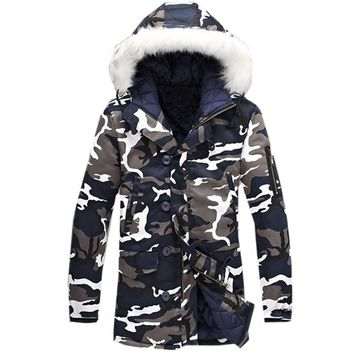 Men Winter Thick Camo Hooded Coat Military Tactical Windbreaker Jacket Zipper Army Outwear Camouflage Parka Hoodie  - Plus Size 5XL available