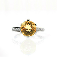 engagement ring with 2.48ct Yellow sapphire, unique, diamond engagement, sapphire engagement, orange, genuine sapphire, solitaire, vintage
