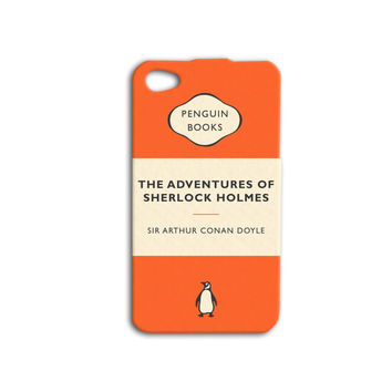 Sherlock Holmes Penguin Book Phone Case Cute Orange iPod Case Funny Book iPhone Cover iPhone 4 iPhone 5 iPhone 4s iPhone 5s iPod 4 Case