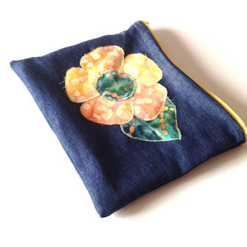 Flower Patched Zipper Pouch - Hippie Travel Pouch