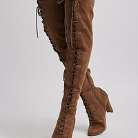 Faux Suede Lace-Up Over-The-Knee Boots | Charlotte Russe