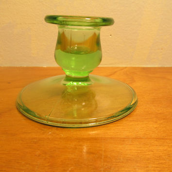 Two Vintage Green Vaseline Glass  Taper Candle Holders