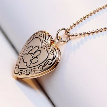 Silver or Gold Tone Pet Footprint pattern Heart Shape Photo Pendant Necklace