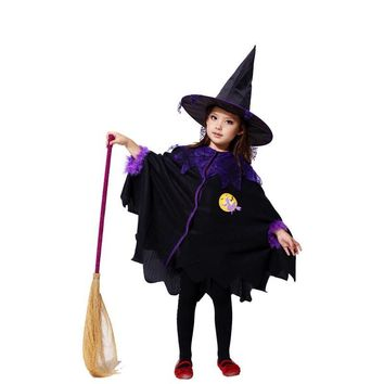 Disfraces Girls Halloween Sorcerer Costume Children Witch Role play Kids magician Cosplay Christmas Thanksgiving Day party dress