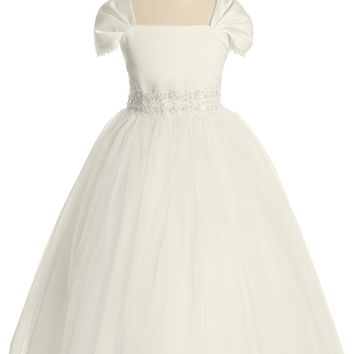 (Sale) Size 5-6 Ivory Satin & Tulle Girls Formal Dress w. Fan Pleated Sleeves