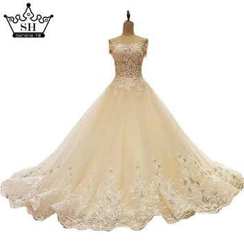 Luxury Off Shoulder Lace Up Wedding Dresses 2017 Real Picture Beading Sequins Lace Bridal Gowns Ball Gown nRobe De Mariage