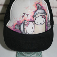 Hello Kitty Trucker Hat Pink Lavender Purple Black White Punk Anime Pastel Goth Kawaii Sanrio 70s 80s 90s Snap Back Heart Bow Cap Cyber
