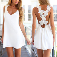 Women Sexy V Neck Backless Lace Crochet Chiffon Summer Beach Mini Dress Vestidos Black White Party Dresses 2016 Women Clothing