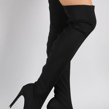 Sleek Stretch Over the Knee Pointy Toe Stiletto Boot