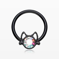 Blackline Adorable Cat Face Sparkle Captive Bead Ring