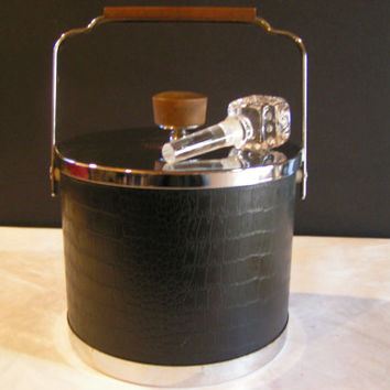 Vintage Kromex Mid Century Modern Black and Faux Alligator Leather Ice Bucket -Funky Glass Dice Cube Liquor Bottle Stopper Included