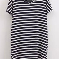 Navy V Neck Short Sleeve Striped Shift Mini Dress