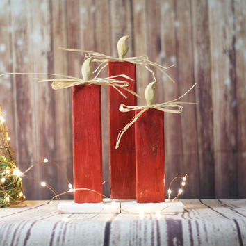 Red Reclaimed Wood Christmas Candles - Rustic Christmas Decor