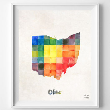 Ohio, Map, Print, OH, Columbus, USA, Poster, Watercolor, Painting, Home Town, Decor, Dorm Room, Art, States, Watercolour [NO 862]