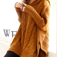 Oversize long brown hoodie sweater, knit, cardigan