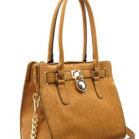 Tote Bag with Lock and Chain Handle Brown - HaileyMason, LLC Store