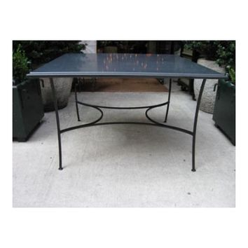 Black Absolute Honed Granite Dining Table with Iron Base