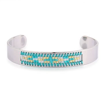 Diamond Shaman's Eye Turquoise and Gold Seed Tribal Bead Bangle