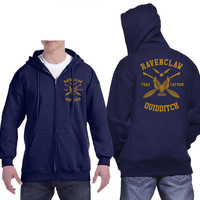 Ravenclaw Quidditch team Captain Yellow print printed on Navy Zipper Hoodie