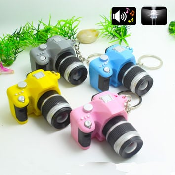 2016 LED Cameras Car Key Chains Toys Sound Glowing Pendant Doll Gifts Cameras Light Up Toys Keychain Camera