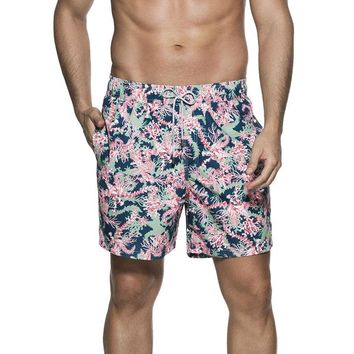 OndadeMar Mens Bicollage Swimwear Corals Print Sea Fit Swimshorts