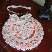 Cream Crochet and Satin Drawstring Vintage Style by lacasa110