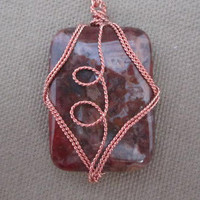 Wire Wrapped Gemstone Pendant Necklace