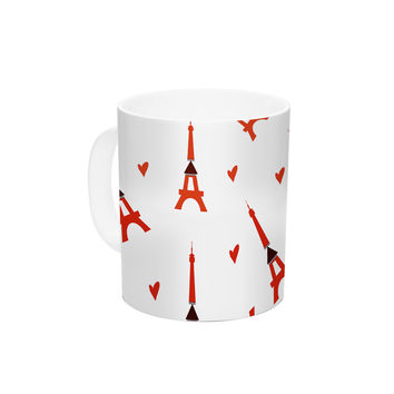 "Louise ""Paris"" White Red Ceramic Coffee Mug"