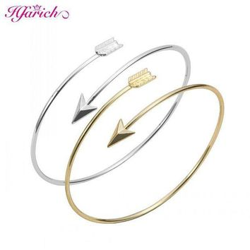 ESBONFI Hfarich Classic Adjustable Arrow Bracelets & Bangles for Women Gold Wrapped Arrow Wire Cuff Bangles Party Gift Female EY-G016