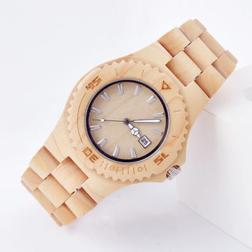 Imported Sandalwood White Analog Time and Calendar Display Dial Watch