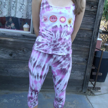 2-Piece Upcycled Leggings and Peace Sign Top Set