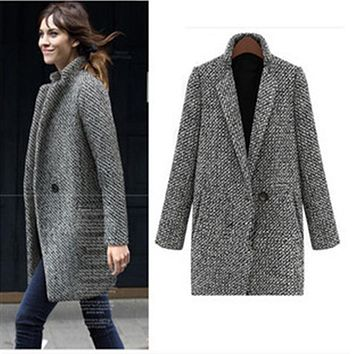 2017 Winter Coat Women Houndstooth Wool Blend Coat Single Button Pocket Oversize Long Trench Coat Outerwear Wool Coat NQ656824