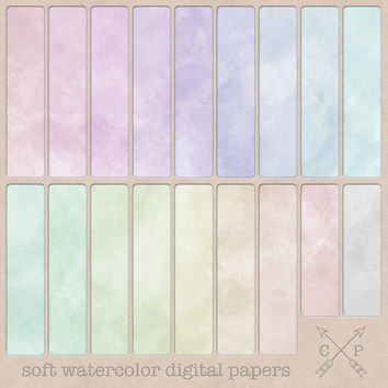Soft Pastel Watercolor Digital Paper pack. Great for scrapbooking, graphic design, card and invitation paper crafting or use as a background