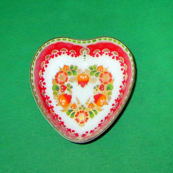 Vintage Email Studio Steinböck Handmade in Austria Hermine Heart Shaped Enamelware Pin, Ring or Trinket Dish