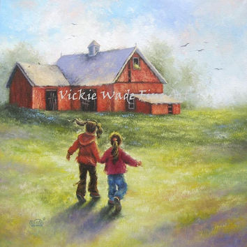 Two Sisters Red Barn Farm Original Oil Painting 20X20 two girls, holding hands, country, children, happy, canvas wall art, Vickie Wade