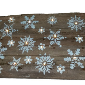 Barn Wood Lit Snowflakes Wooden Sign, Winter, LED lights, Christmas Decor, Holiday Inspirations, Country, Snow, cottage, Reclaimed, Recycled