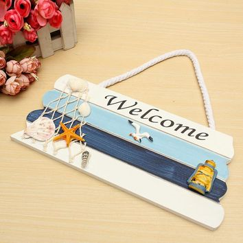 Best Price Welcome Wooden Sign Beach Ocean Nautical Seaside Theme for Home Bar Shop Door Plaque Hanging Decorations Crafts Gift