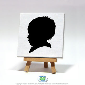 Custom Mini-Canvas Silhouette 4x4  hand painted from your photo ORIGINAL ART