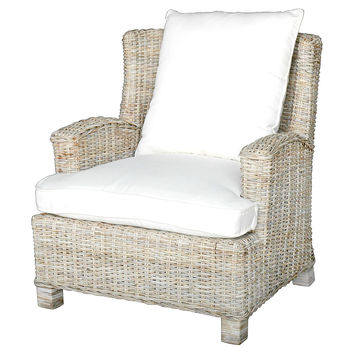 Hyannis Wicker Accent Chair, Gray/Cream, Club Chairs