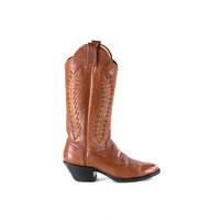 Leather Cowboy Boots Cognac Brown Southwestern Stacked Heel Boots Womens Size 5.5