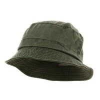 Washed Bucket Outdoor Hats - Olive - Regular to Big Size (XXL)