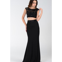 Black Fitted Embellished Sexy Two Piece Long Dress 2016 Prom Dresses