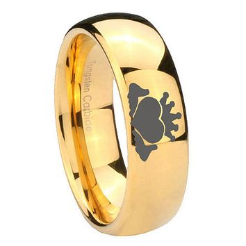 8mm Claddagh Design Dome Gold Tungsten Carbide Anniversary Ring