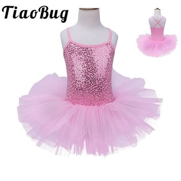TiaoBug Kids Infants Sequined Flower Girls Tutu Dance Leotard Dress Party Fancy Costume Cosplay Princess First Communion Dress