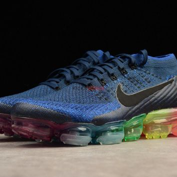 Nike Air VaporMax Be True Dark Blue Flyknit upper and a multi colored Vapormax outsole