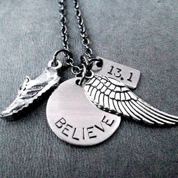 RUN BELIEVE FLY Your Distance Round Pendant Necklace - Runner Necklace on Gunmetal Chain - Choose 5k, 10k, 13.1 or 26.2 - Distance Runner