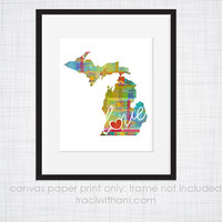Michigan Love - MI Canvas Paper Print:  Grunge, Watercolor, Rustic, Whimsical, Colorful, Digital, Silhouette, Heart, State, United States