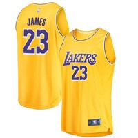 Men's Los Angeles Lakers LeBron James Fanatics Branded Gold 2018/19 Fast Break Replica Jersey - Icon Edition - Best Deal Online